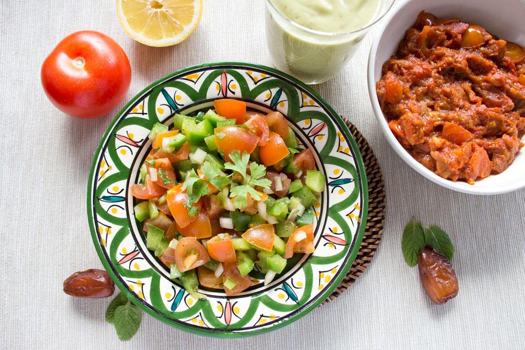 Marokkanische Gerichte – Marokkanischer Salat, Zaalouk Dip und Smoothie Rezepte | SOMEWHERE ELSE