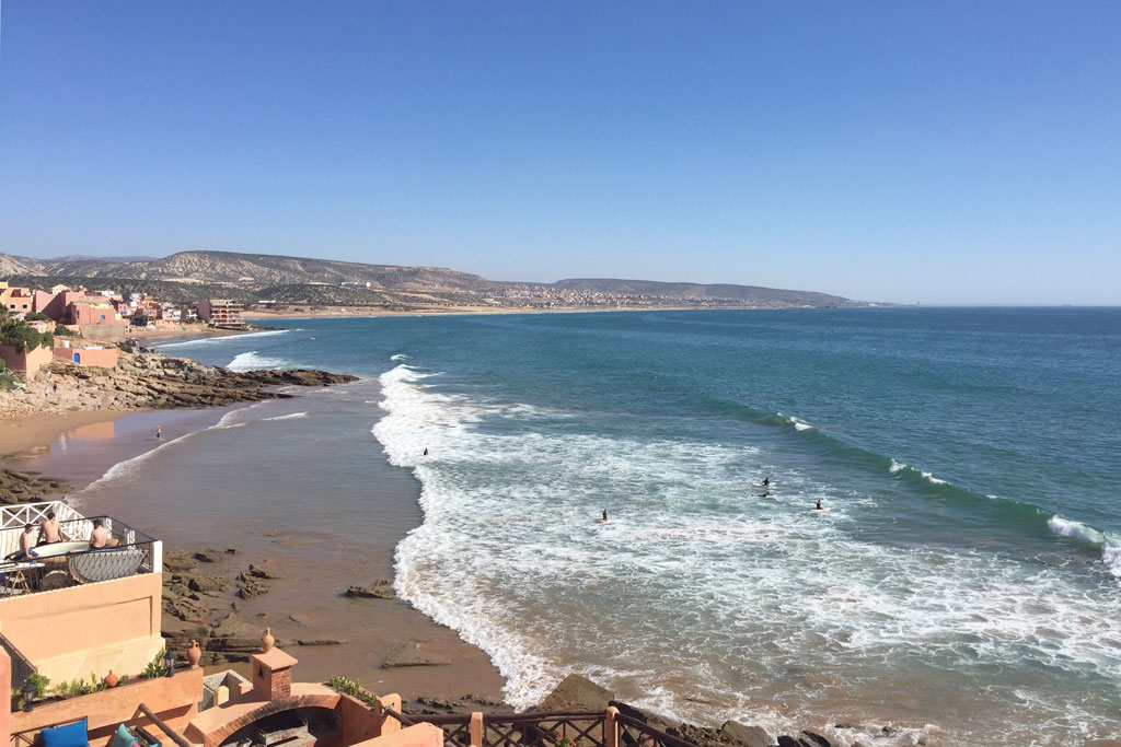 Taghazout Surfen – Meerblick von der Terrasse   SOMEWHERE ELSE