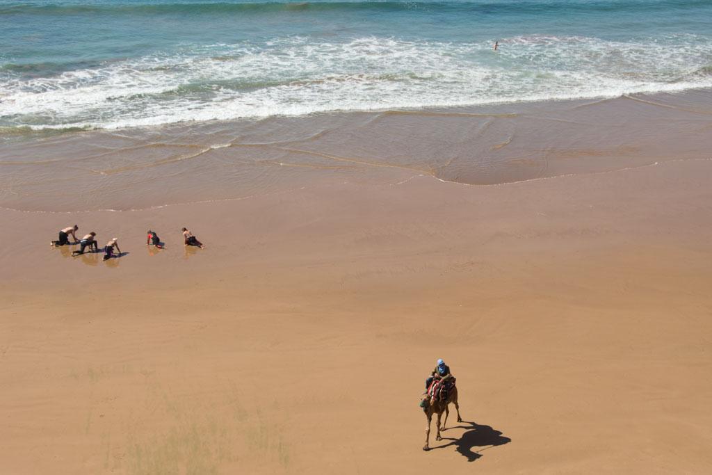Taghazout Surfen – Surfer und ein Kamelreiter am Strand | SOMEWHERE ELSE