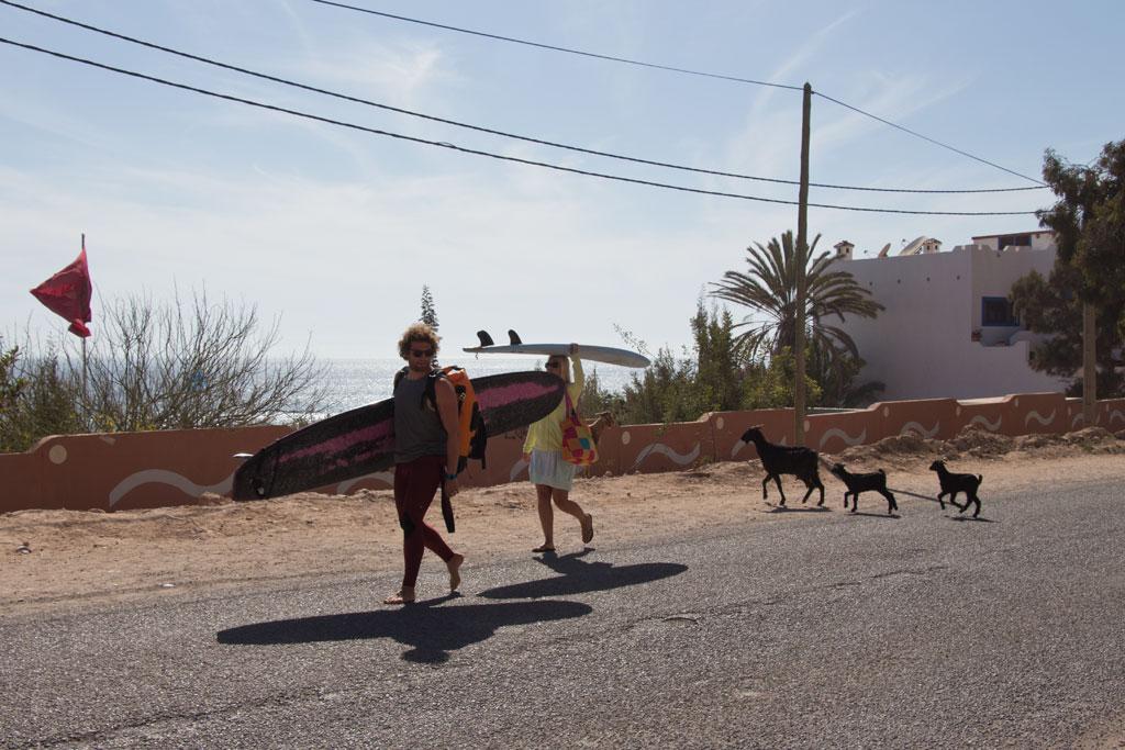 Taghazout Surfen – Surfer und Ziegen im Dorf | SOMEWHERE ELSE