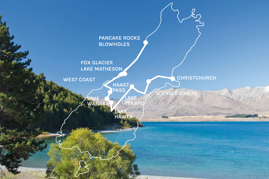 Neuseeland Südinsel Landschaften – Karte mit Route | SOMEWHERE ELSE